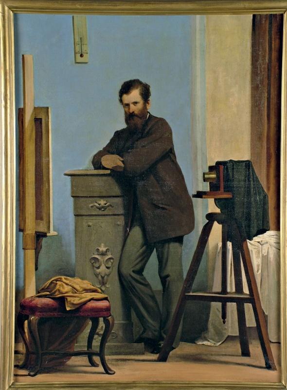 Autoritratto tra cavalletto da pittore e macchina fotografica, 1859-60 c. Olio su tela, 125x92cm