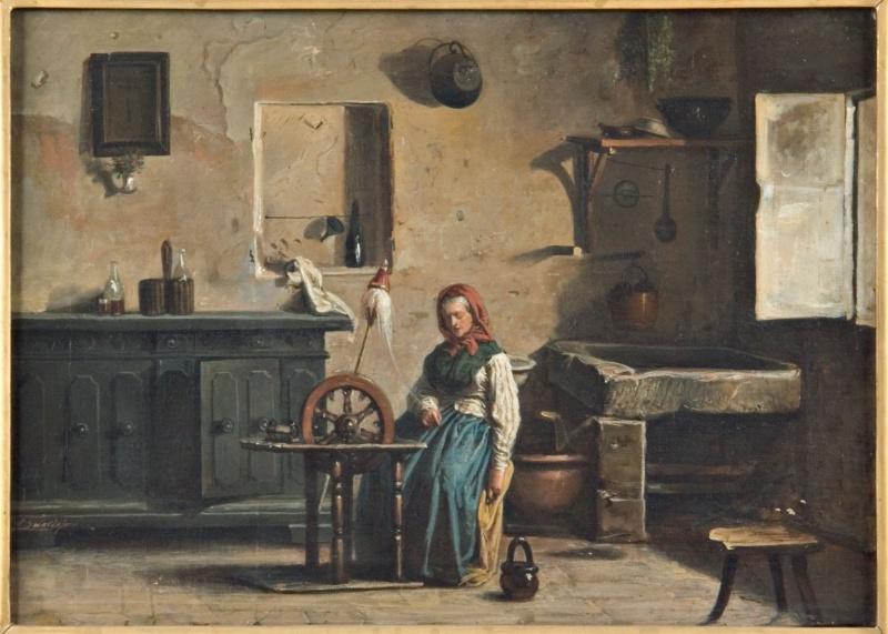 Cucina con filatrice, 1880 c. Olio su carta applicata su compensato, 45x64cm