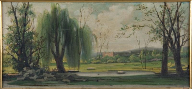Paesaggio con grande salice, 1880 c. Olio su tela, 44x98cm